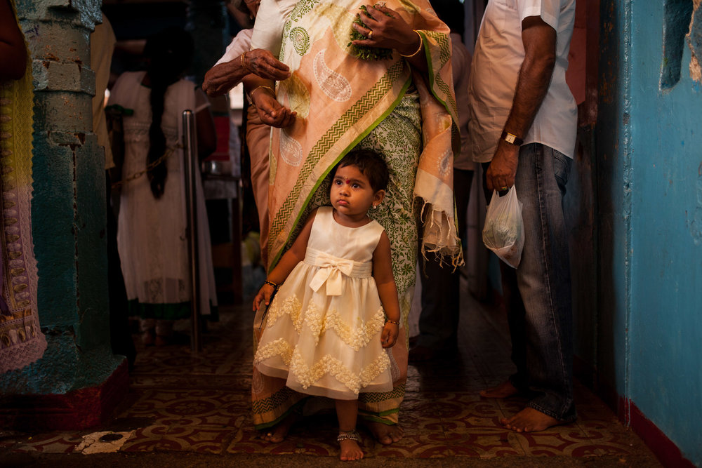Families bring children to Chilkur Balaji Temple.