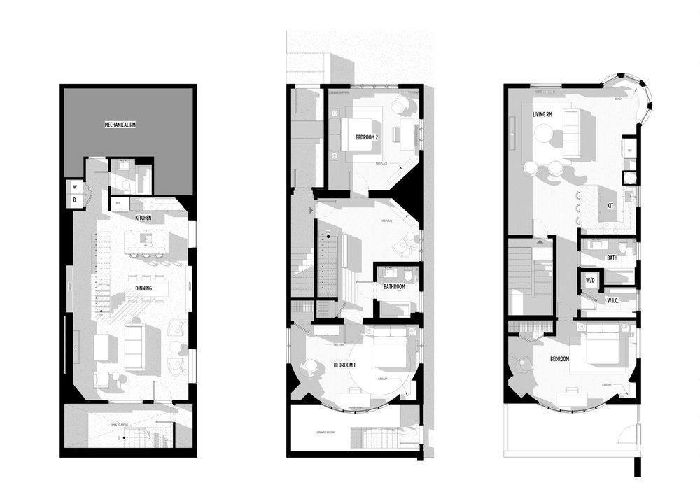 Floor Plans, Phase 1 Work, Basement to Level 2