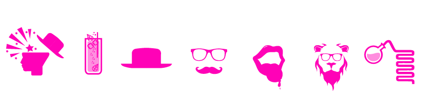 crazy co icons in pink on the blog page