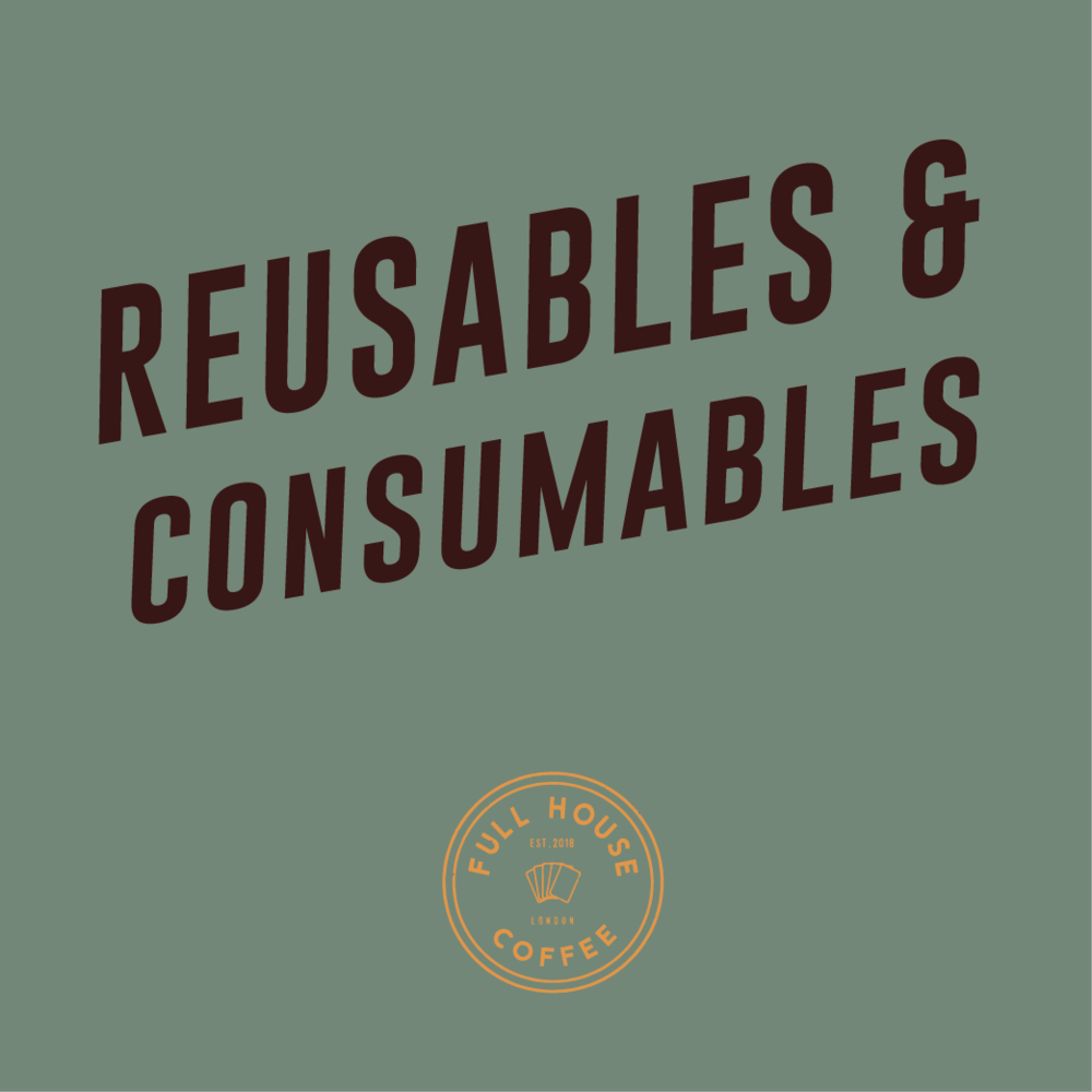 CONSUMABLES - Full House Coffee is your one stop shop for all auxiliary consumables from high end teas to flavoured syrups. All single use disposables are biodegradable or recyclable, and in the case of cups; 100% compostable.