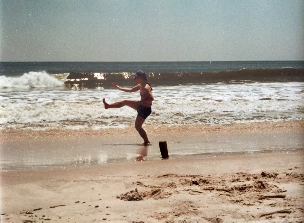 Bagua Zhang practice at the beach. Mary Christianson, 1985.