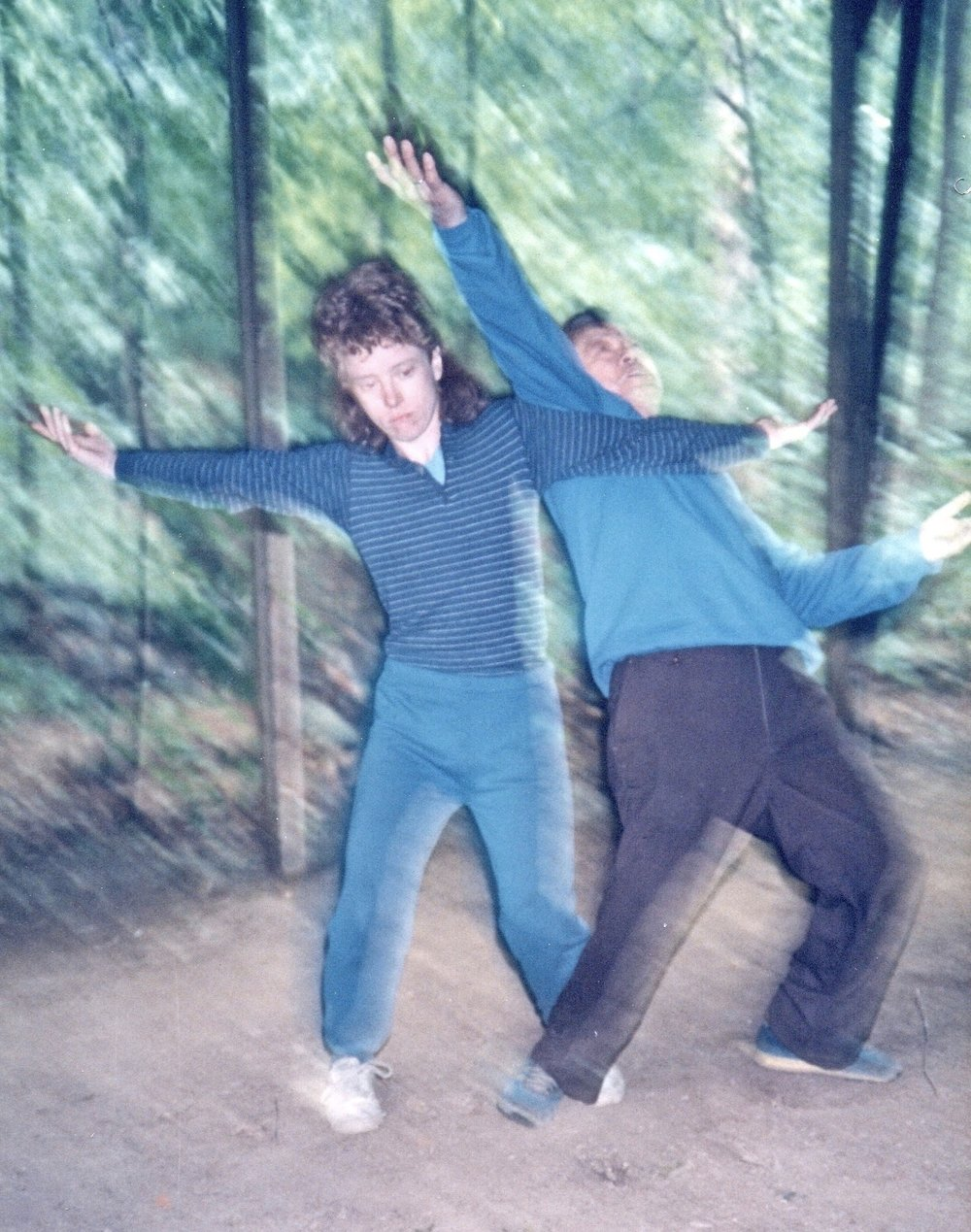 Mary Christianson and Master B.P Chan demonstrate Bagua applications at the Tai Chi Farm, mid-1980's.