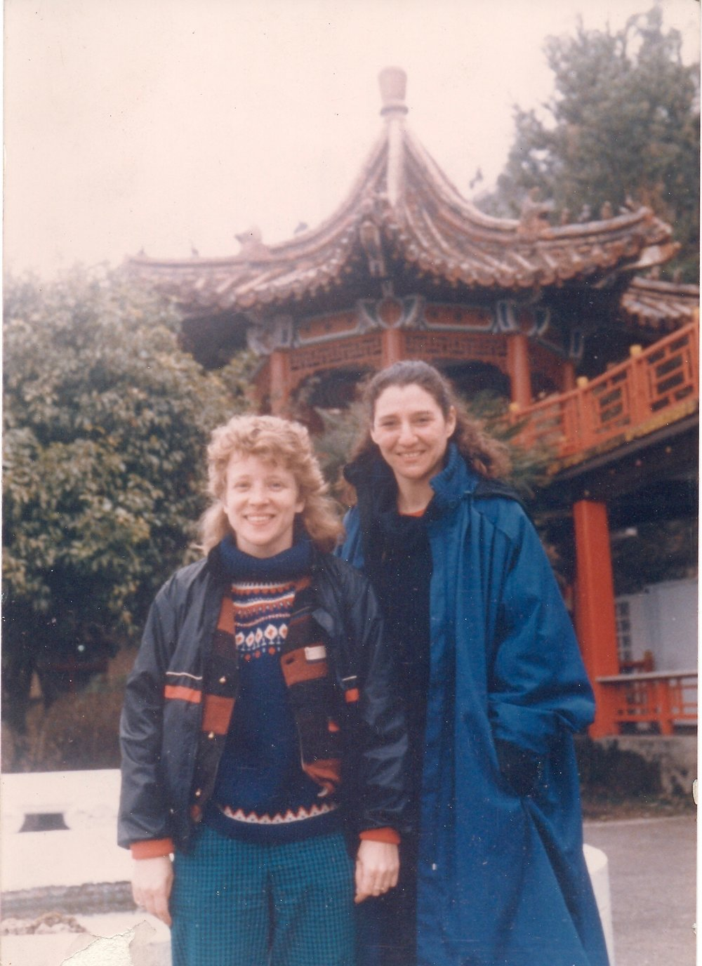 Mary Christianson and Susan Rabinowitz, founder of the Taoist Arts Center in NYC, celebrate Chinese New Year in Li Shan, Taiwan, 1985.