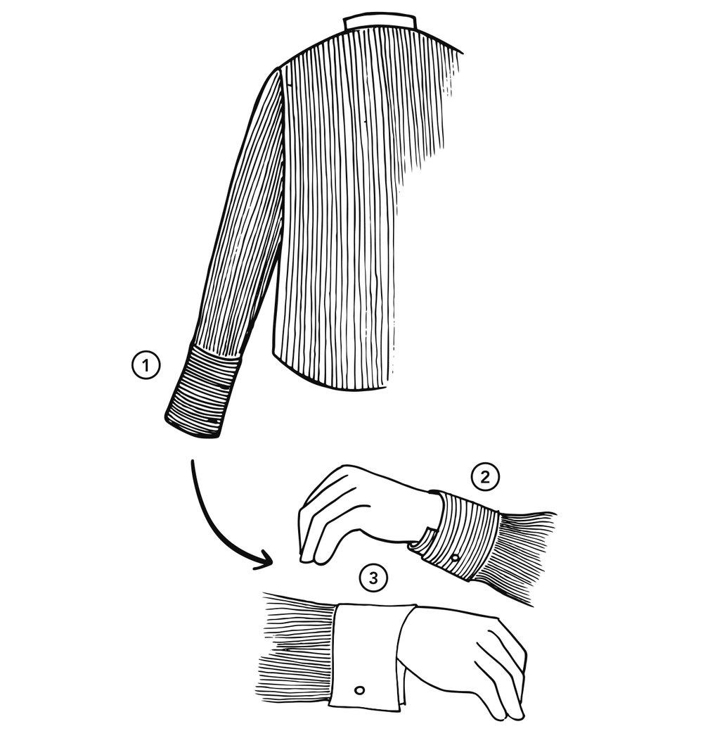 ....  2. Ways to dress cuffs.  ..  2. Modi per indossare i polsini.  ....