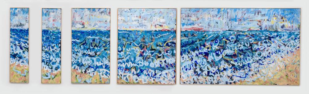 "Charlie Hudson  'Shoreline'  acrylic on birch panel  47.5"" x 158""  Valued at $8,000"