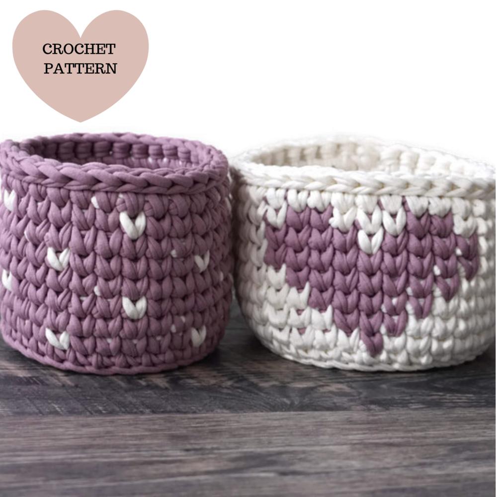 Crochet Valentines basket pattern