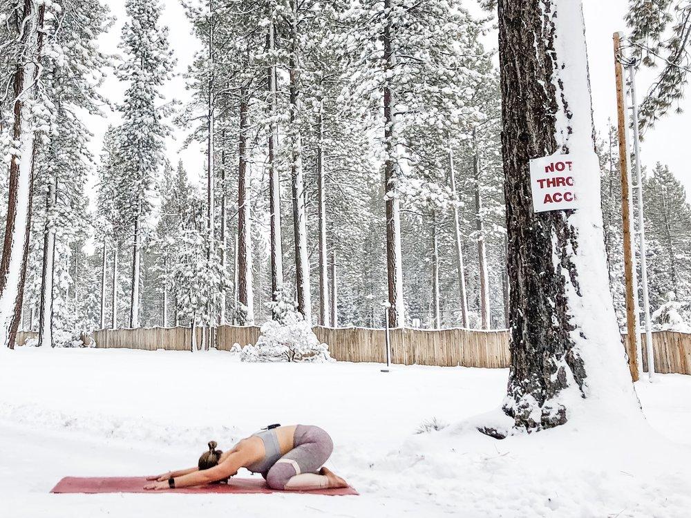 Lake Tahoe, CA - Wearing  Alo Yoga  and practicing on my favorite  yoga mat