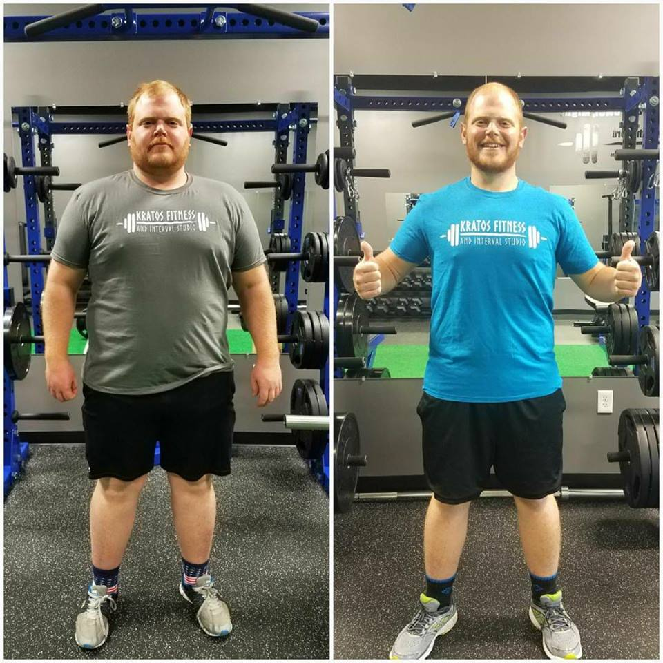 way to go john! - His goal was to lose 50lbs by his birthday. He hit that goal, passed it losing 61 lbs and then he kept going. Results like this make the early mornings and late evenings worth it!  Same lighting, same location, ⬇⬇ shirt size, and 120lbs less body weight! I'm continually blown away each time we step on the scale.