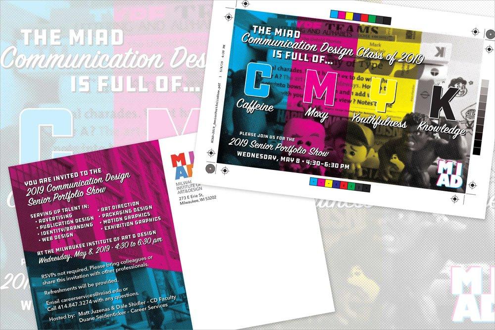 MIAD 2019 Senior Portfolio Show Postcard