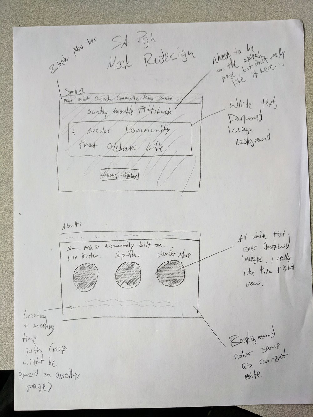 Initial wireframes of splash page and About page