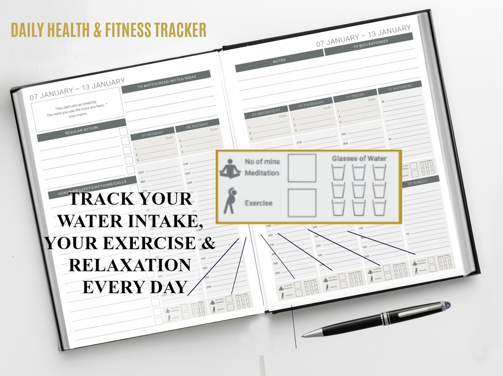 The Daily planner allows you to track and record your exercise, meditation and your water intake.