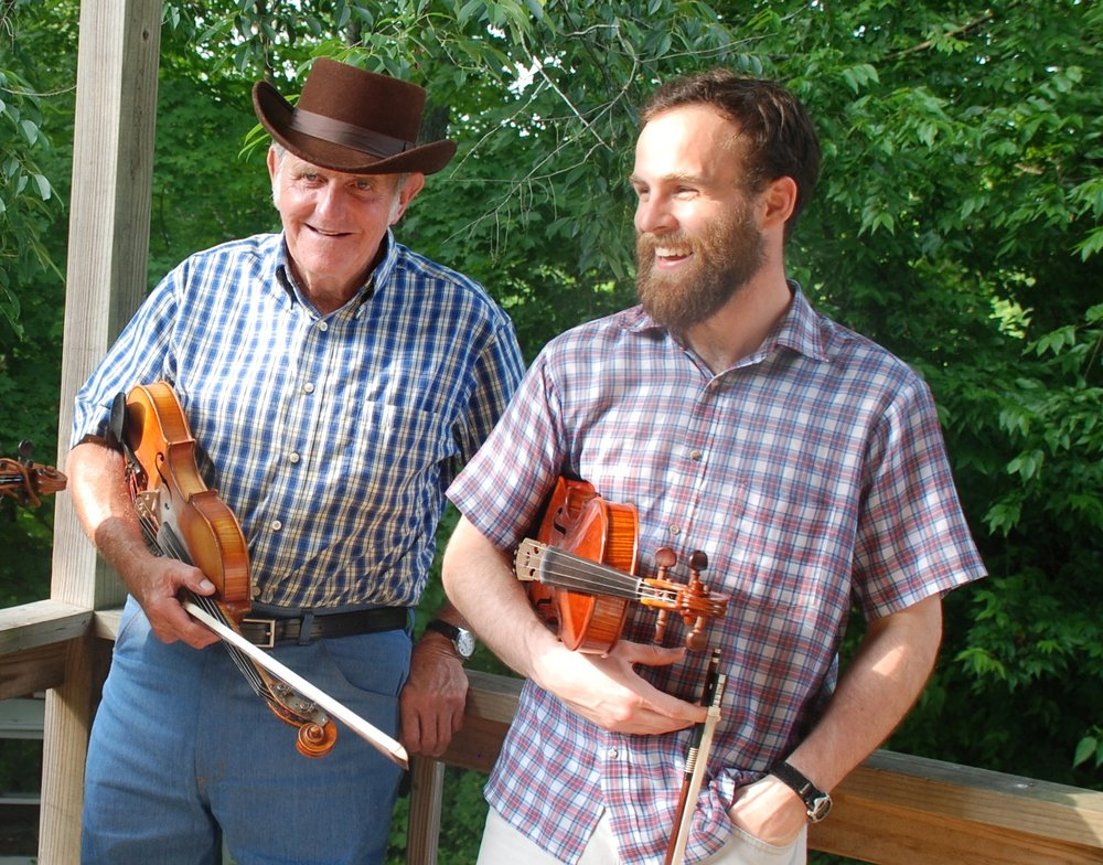 """Charlie McCarroll and Joseph Decosimo in 2008. A mighty fiddler in his own right, Charlie is the son of Roane County Ramblers fiddler Jimmy McCarroll whose """"Hometown Blues"""" has entered into all kinds of repertoires as the """"Lee Highway Blues."""" Photo courtesy of Bob Fulcher."""