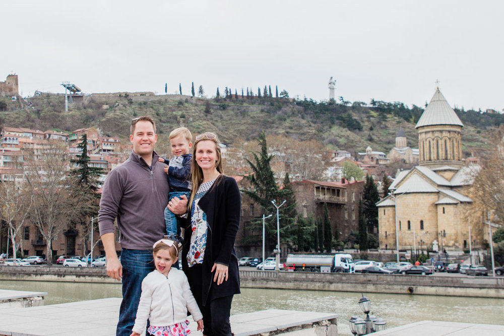 Our family visiting Tbilisi, Georgia while I was a trailing spouse in Ukraine.