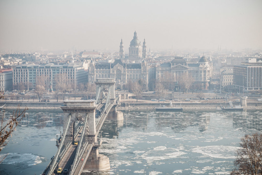 View from the funicular over the Danube River. You can see St. Stephen's Basilica in the background.