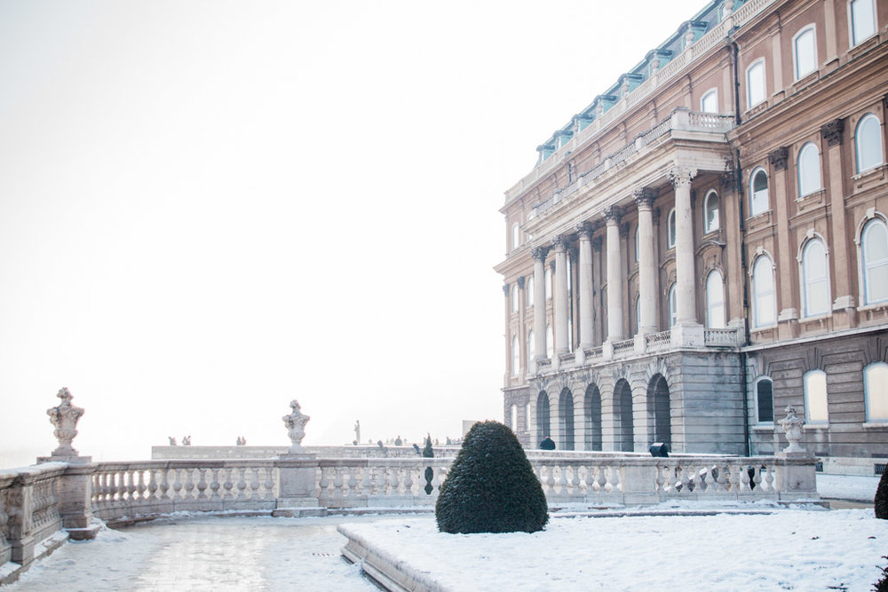 Buda Castle covered in snow and fog.
