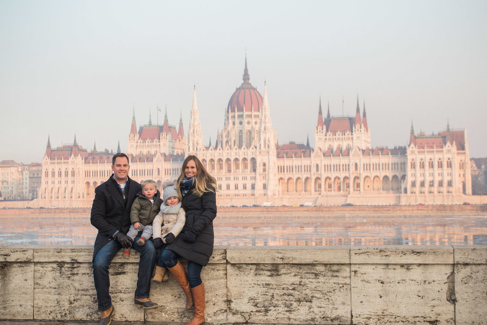 Best family photo spot in Budapest! Across the river from the Parliament buiding.