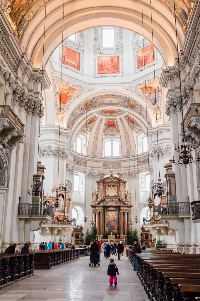 The grand interior of the Salzburg Cathedral is stunning!