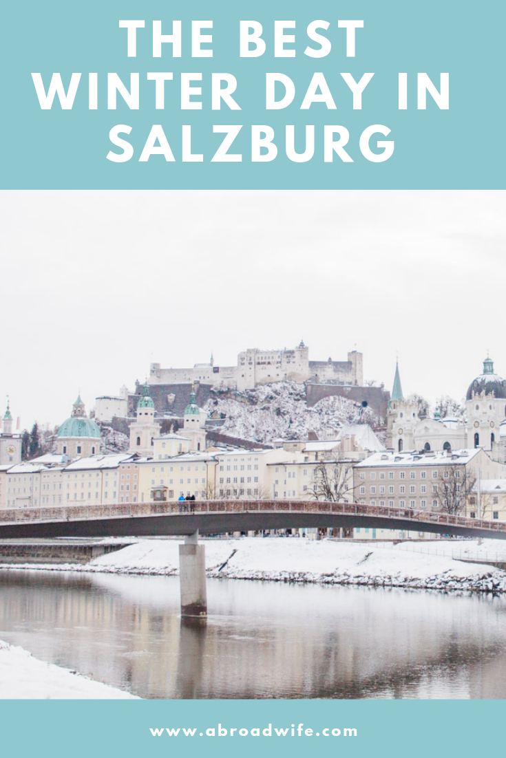 View of snow-covered Salzburg, Austria.