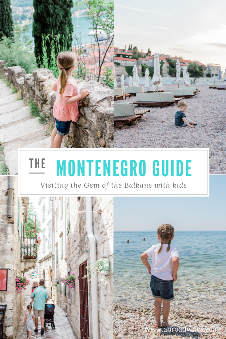 """Pictures of children in Montenegro in the old towns and on the beach. Text overlay """"Montenegro Guide"""""""