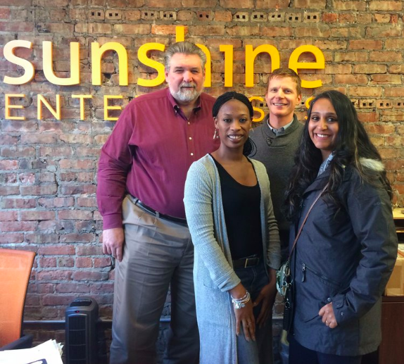 David Foster, Founder & Executive Director with Dr. Sunitha Chandy, Carpe Ventus Board of Directors and founder of Artesian Collaborative with a few of our partners at Sunshine Gospel Ministries.