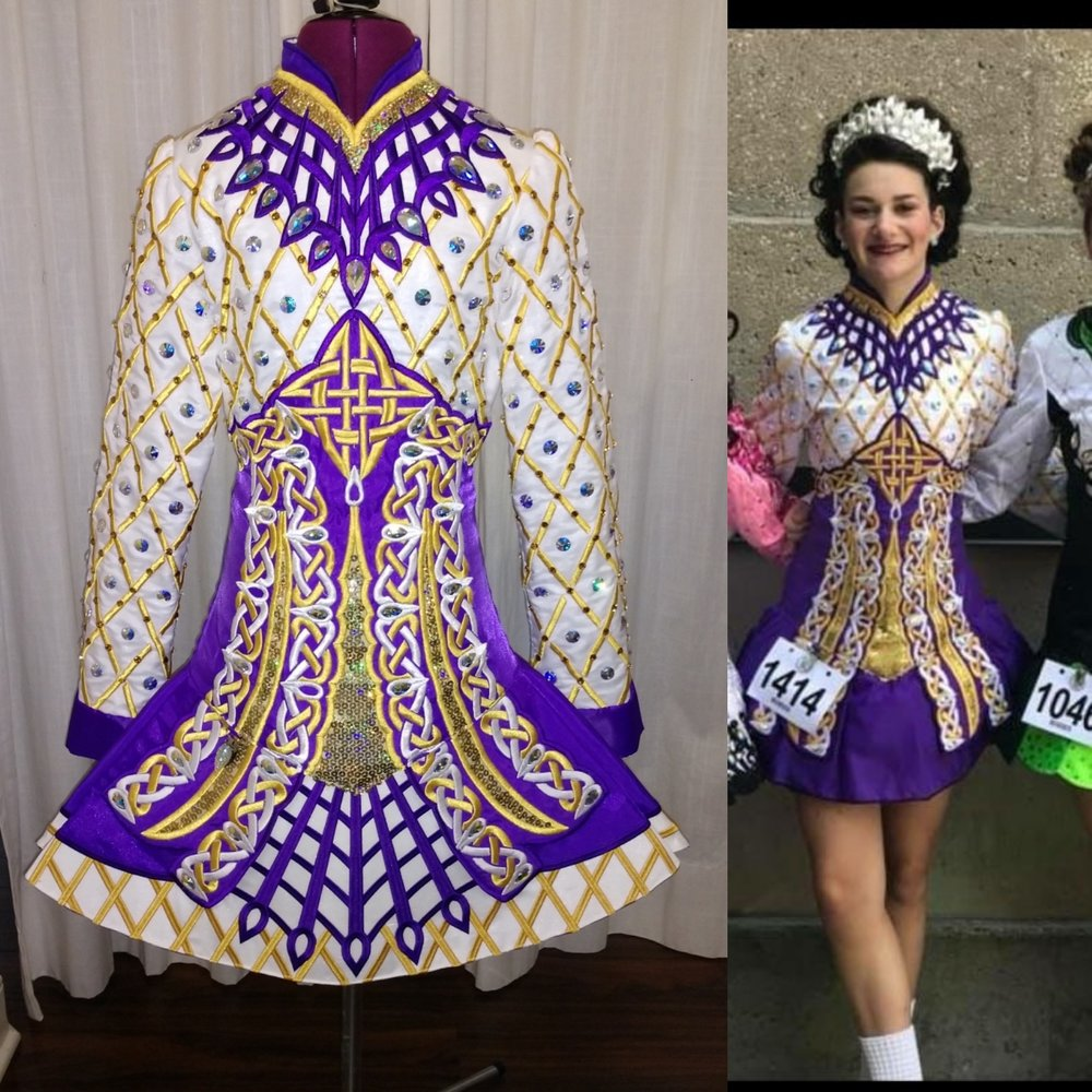 Restyling - The look of the Irish dance dress is updated just by making a new skirt. Because of the way it was made some the original embroidery could be reused saving money. Our designers love coming up with creative ways to modernize costumes or re-purpose them.