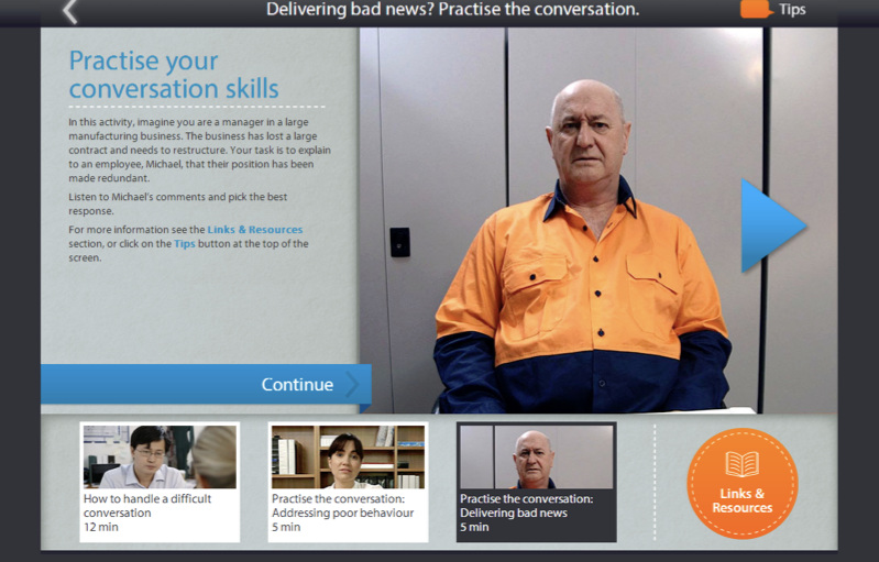 Fair Work Ombudsman Online Learning Centre - The Online Learning Centre's interactive learning videos have helped tens of thousands of employers and employees develop communication and conflict resolution skills needed for today's workplace.Learn more