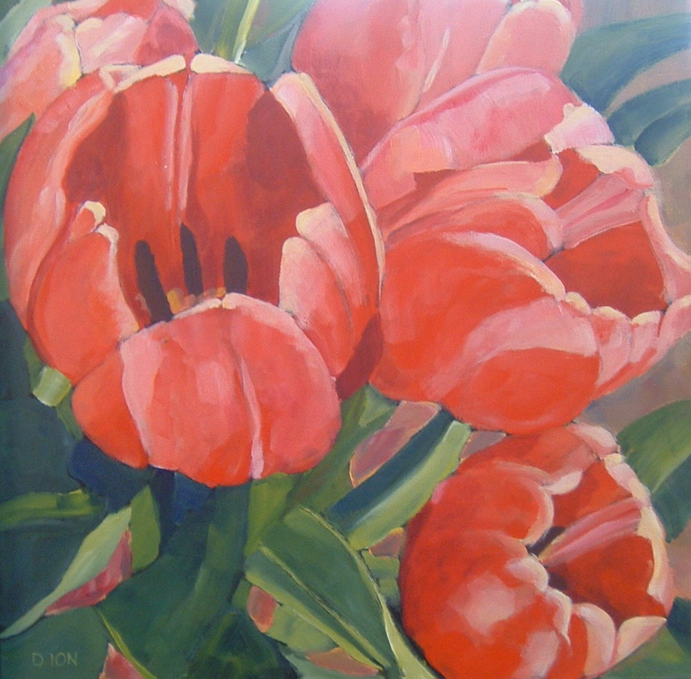 Red Tulips 30x30 in.