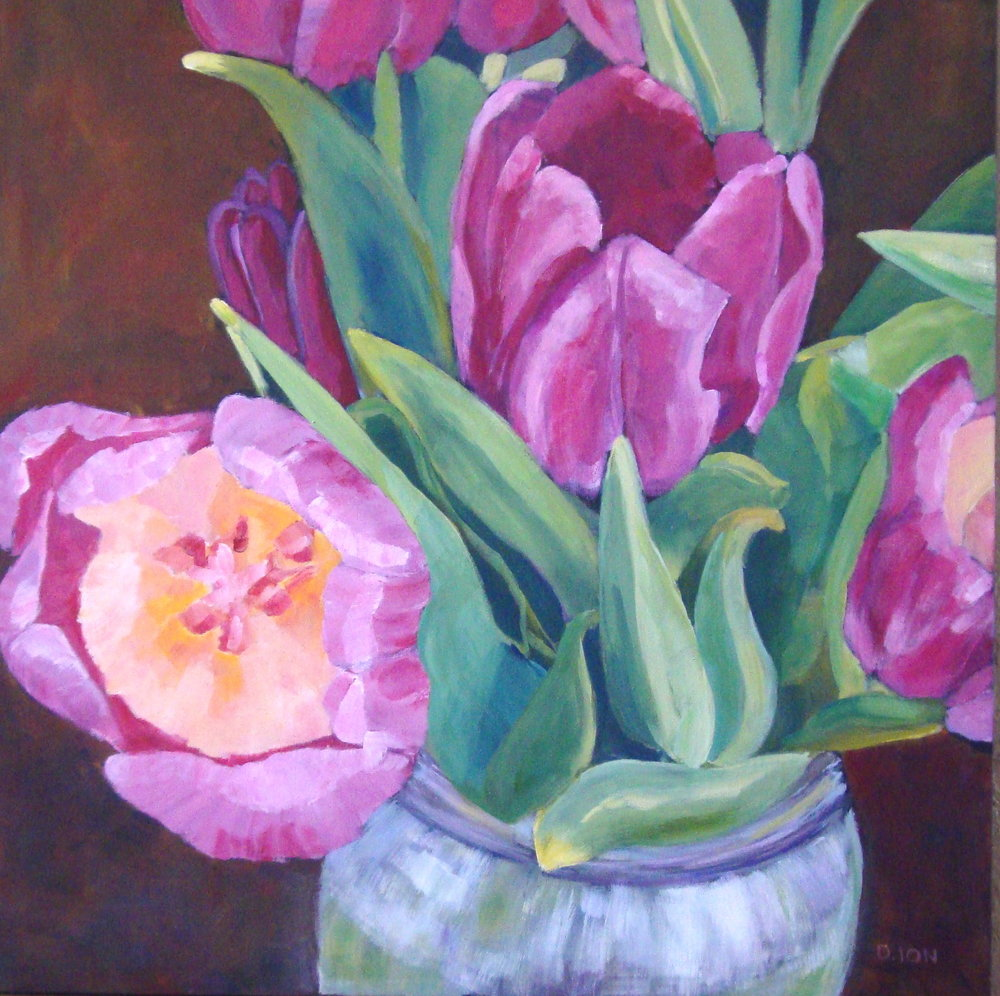 Purple Tulips 30x30 in.