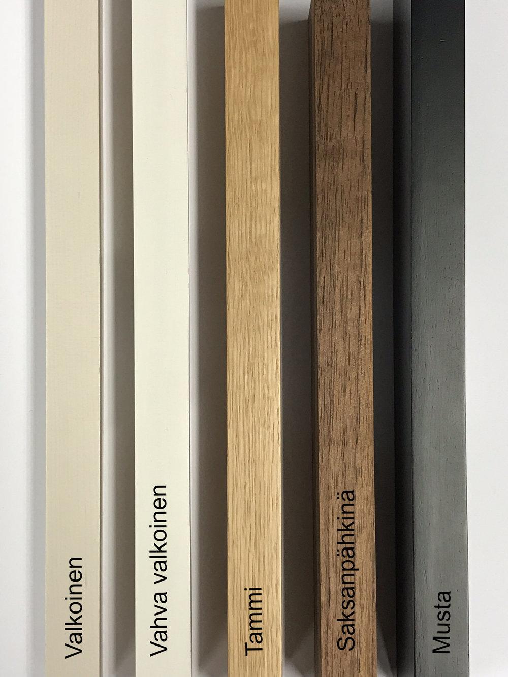 Puukehysten värivaihtoehdot