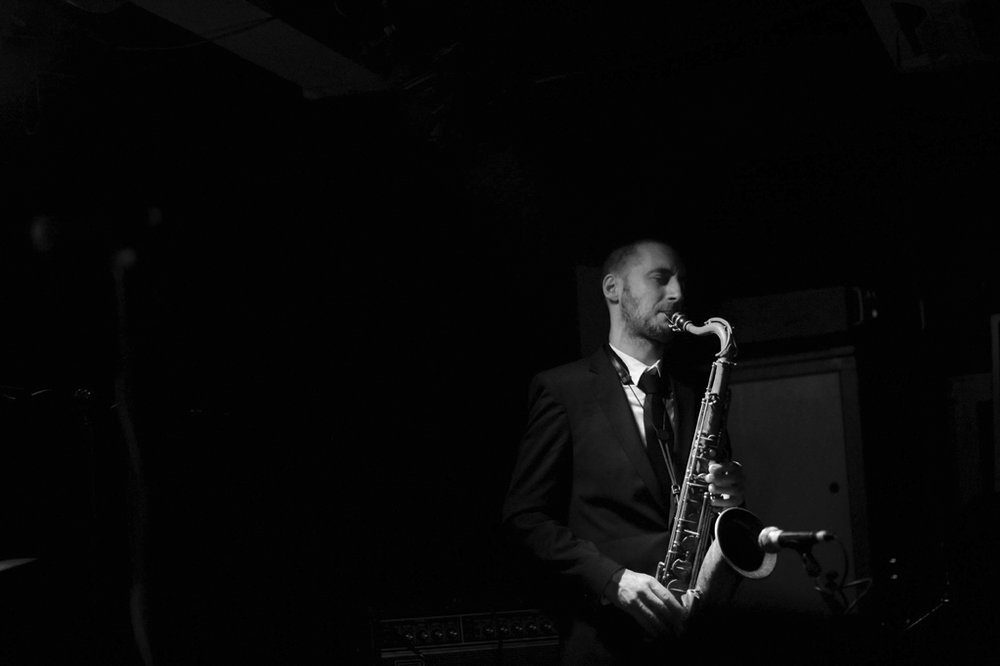 CHRISTOPHE PANZANI - Sax player and composer very active on the Parisian scene, he started been noticed ten years ago in the Big Bang of Carla Bley, with whom he played on all major Eu- ropean jazz festivals beside Steve Swallow, Billy Drum- mond, Andy Sheppard... Christophe continues to work actively on the u.s. scene with the band Thiefs that he founded with n.y. bass player Keith Witty.
