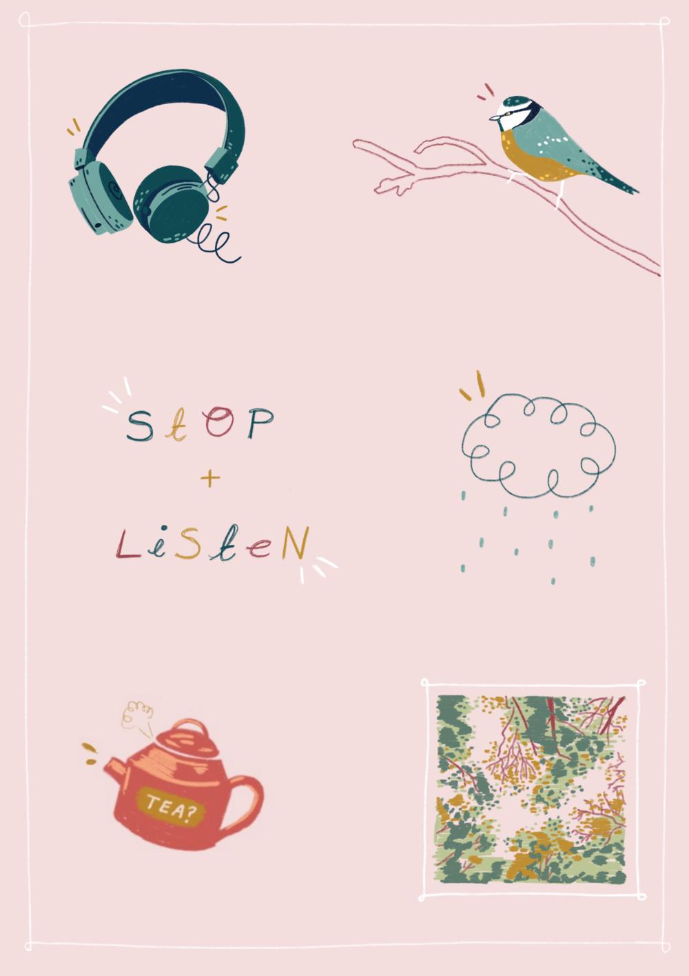 'Stop and Listen' (2018) Digital Illustration.