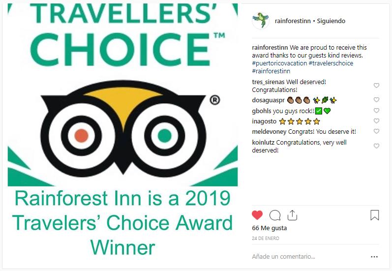 Orgullosamente somos uno de los mejores 25 Bed & Breakfast en el Caribe según el Premio 'Tripadvisor Travellers' Choice'
