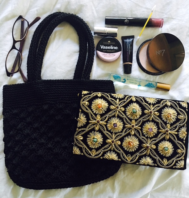 whats in your bag party clutch makeup