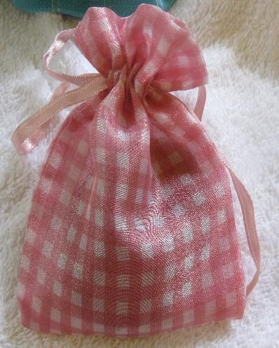 pink gingham organza soap bag