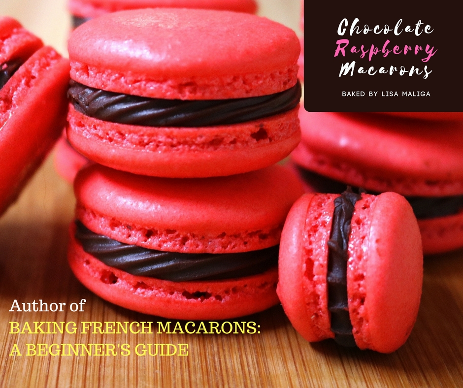 chocolate raspberry macarons by the author of BAKING FRENCH MACARONS A BEGINNER'S GUIDE