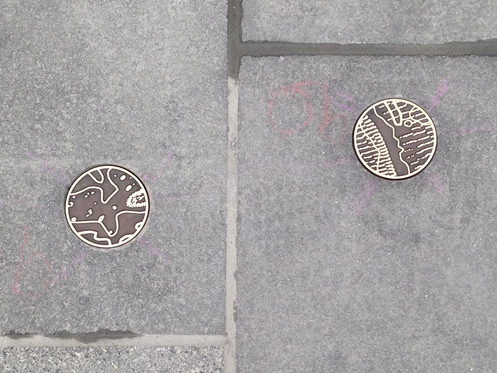 Bronze Roundels for Merthyr Tydfil High Street, by Rebecca Gouldson Metal Art www.rebeccagouldson.co.uk. Commissioned by Merthyr Tydfil Council 2016