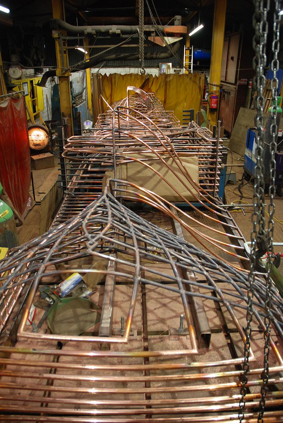 Copper Sculpture by Rebecca Gouldson under fabrication by Art Fabrications www.rebeccagouldson.co.uk