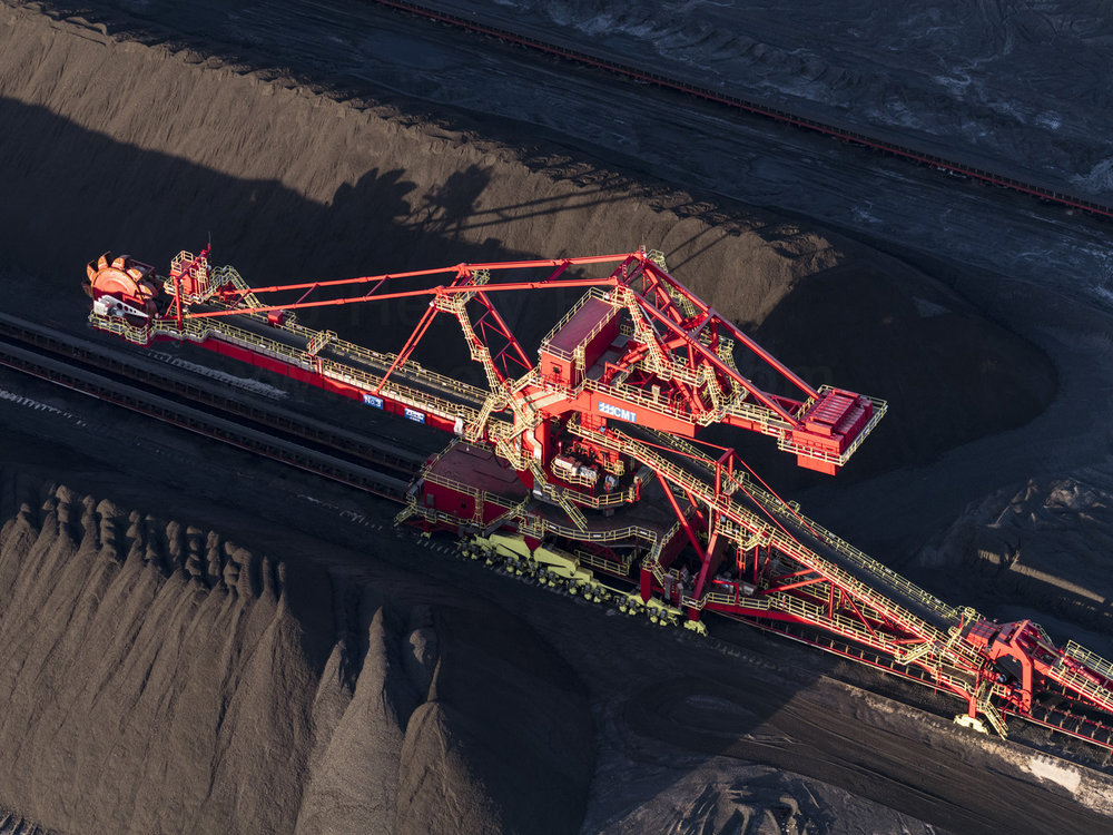 Bucket-wheel excavator at coal terminal