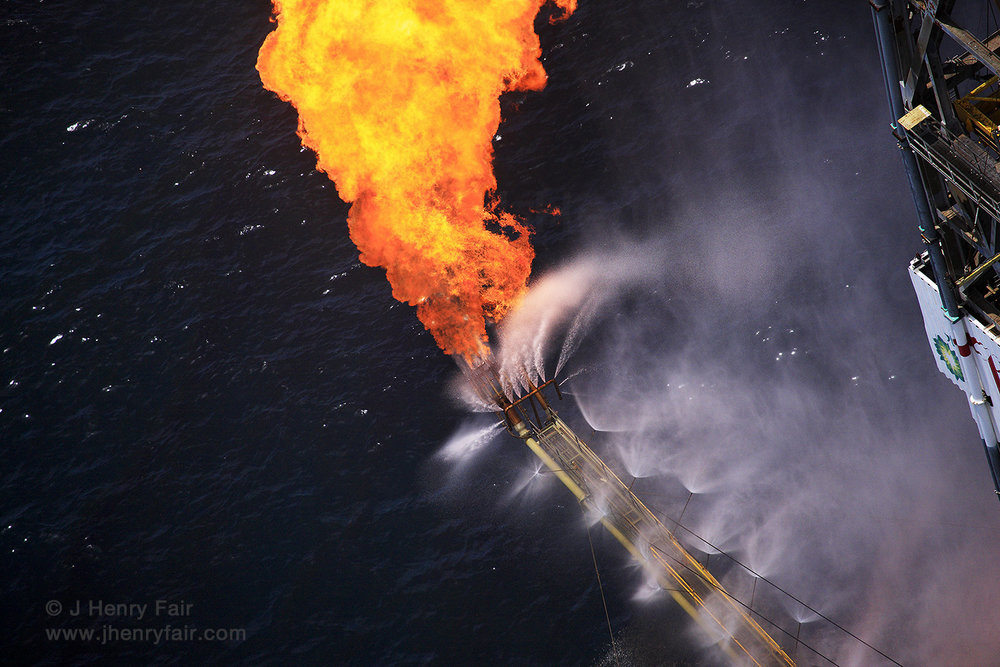 Flaring Of Excess Gas At Offshore Oil Disaster
