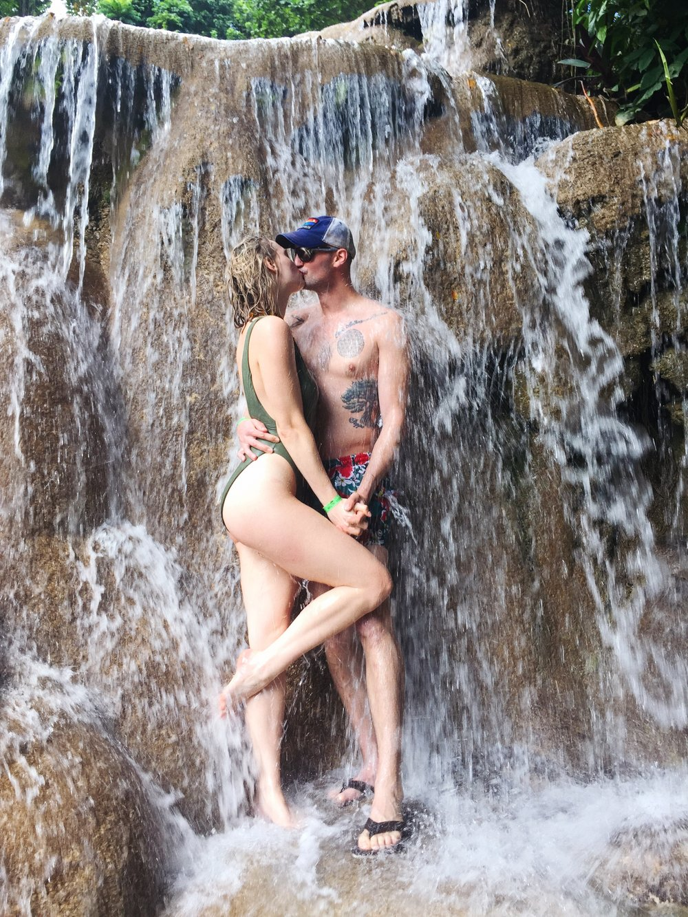 We climbed a waterfall on our surprise Jamaican honeymoon.