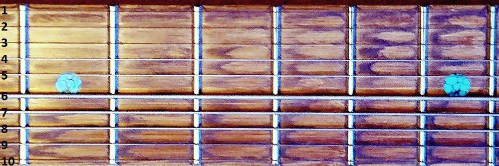 A single quadrant of the Stick's fretboard