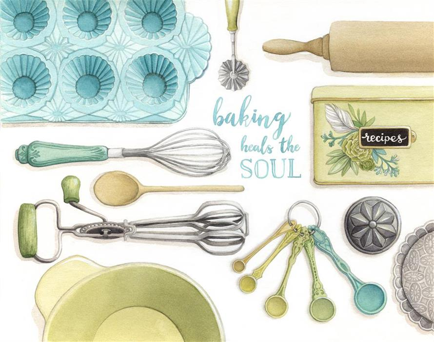 Baking Heals the Soul - Vintage Baking Tools Watercolour Illustration by Alicia's Infinity - www.aliciasinfinity.com