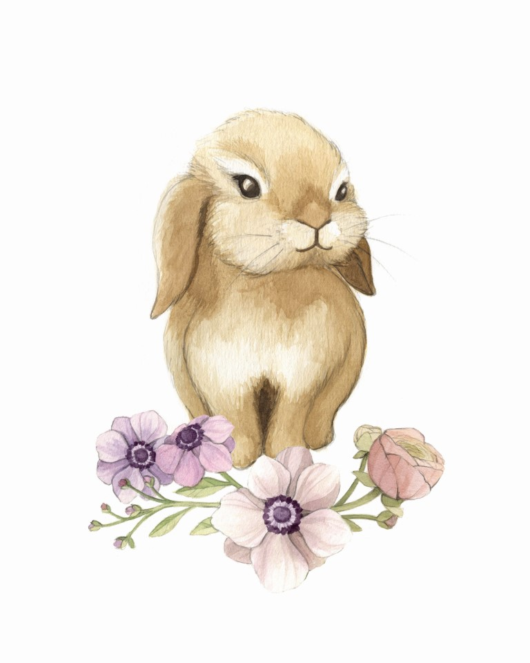 Floral Bunny Watercolour Illustration by Alicia's Infinity - www.aliciasinfinity.com