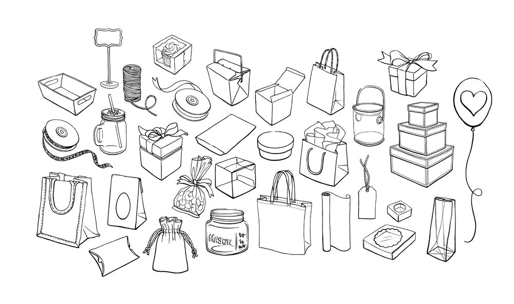 Creative Bag Packaging Illustration by Alicia's Infinity - www.aliciasinfinity.com