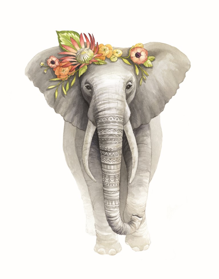 Elephant with Flower Crown Watercolour Illustration by Alicia's Infinity - www.aliciasinfinity.com