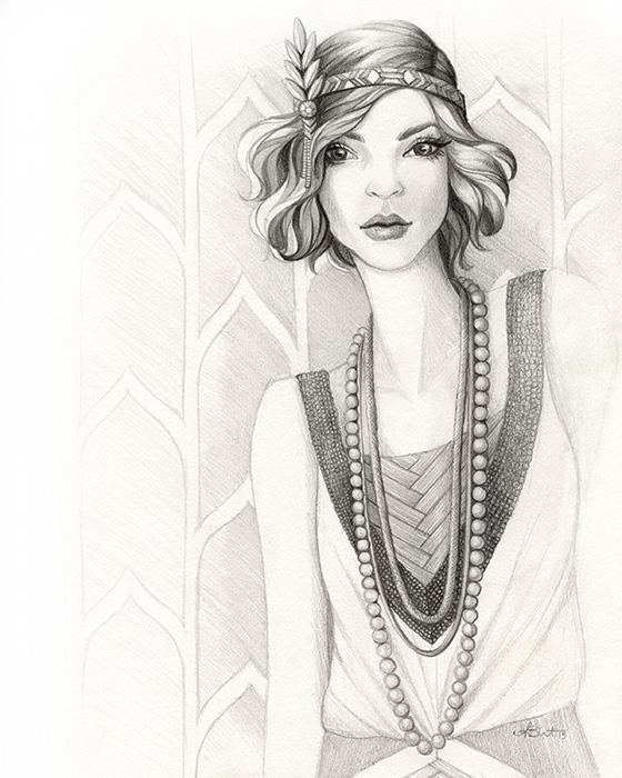 Gatsby Gal - 1920s Flapper Fashion Illustration by Alicia's Infinity - www.aliciasinfinity.com