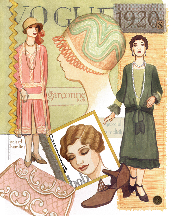 1920s Vintage Fashion Watercolour Illustration by Alicia's Infinity - www.aliciasinfinity.com