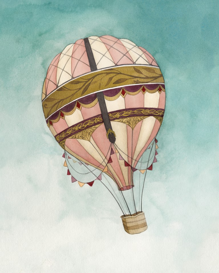 Hot Air Balloon Watercolour Illustration by Alicia's Infinity - www.aliciasinfinity.com