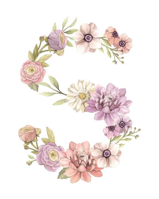 Floral Monogram Letter Watercolour Illustration by Alicia's Infinity - www.aliciasinfinity.com