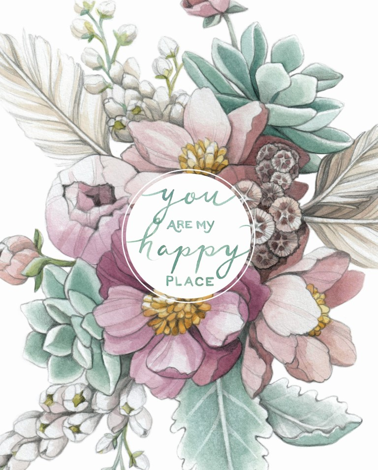 """""""You are my happy place"""" Mauve floral and succulent Watercolour Illustration by Alicia's Infinity - www.aliciasinfinity.com"""